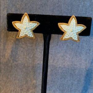 Jewelry - Beaded Star Shaped Gold tone Clip Earrings